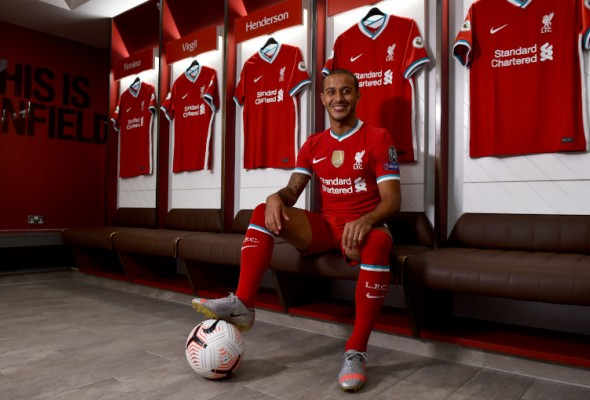 Thiago Alcântara signs for Liverpool.