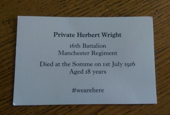 Image of card handed out at #WeAreHere with details of a soldier who died at the Somme