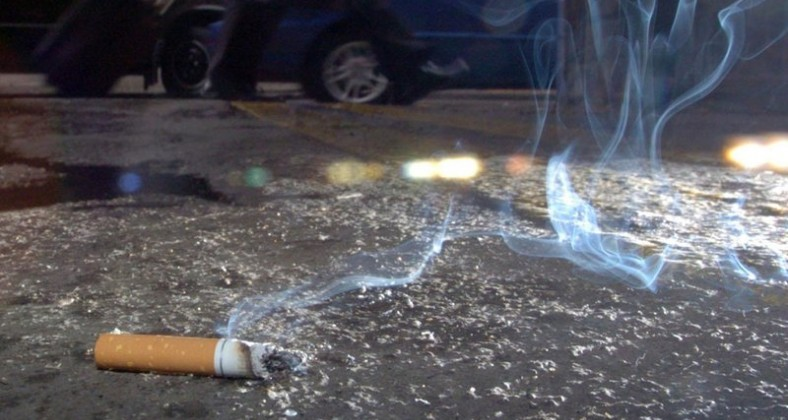 Cigarette butt on floor
