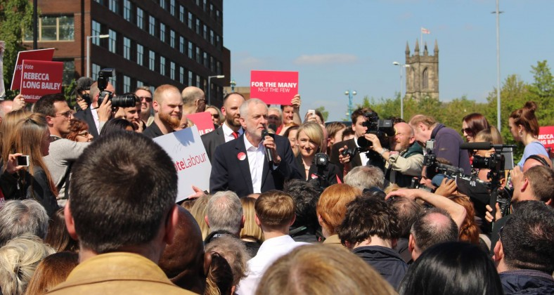 Jeremy Corbyn at a rally in Salford