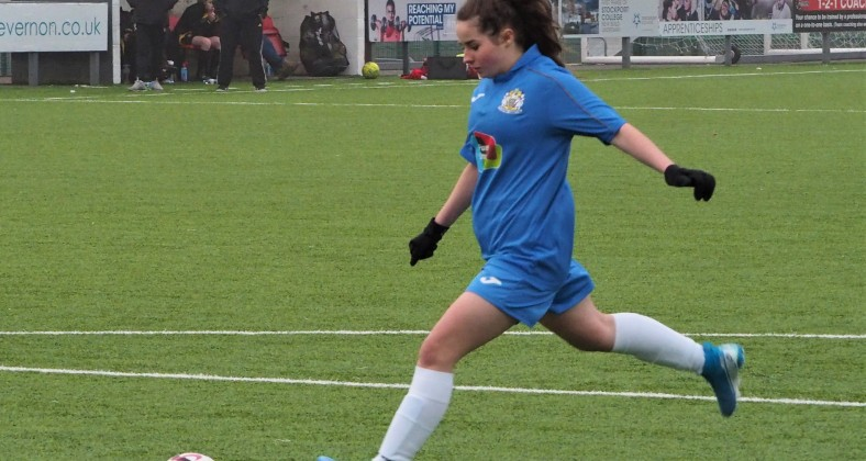 Abbie Wright scoring a late penalty for Stockport. Photo: Peter Attfield