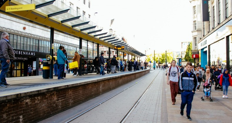 Metrolink stop in Manchester city centre