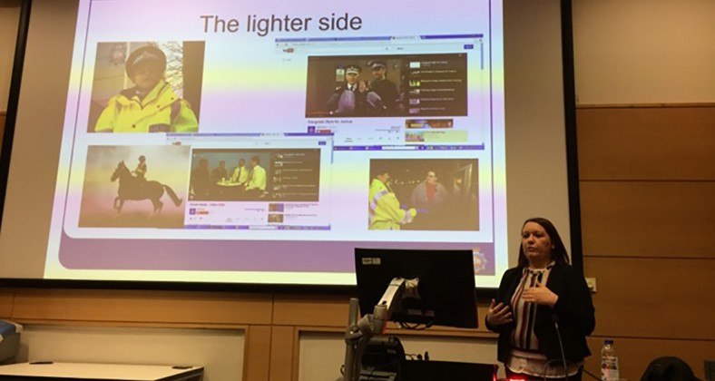 Amanda Coleman speaks to first year journalism students at MMU