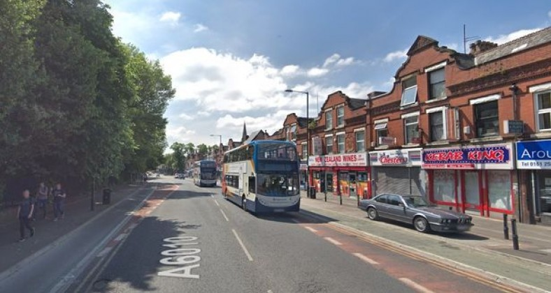 Bus going down Wilmslow Road, Fallowfield.