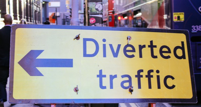 Diverted Traffic sign, credit: Toby Burton