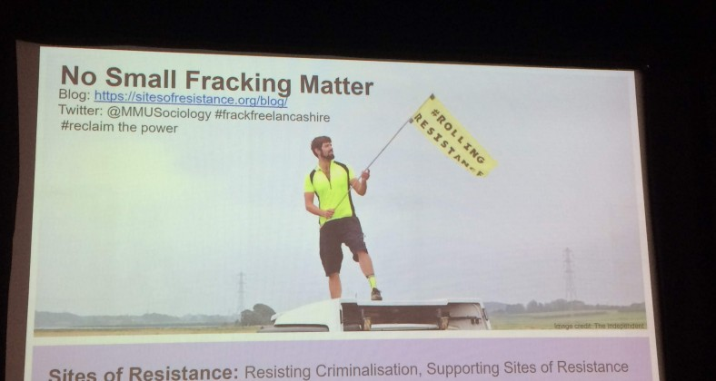 fracking protester on lorry at Preston New Road