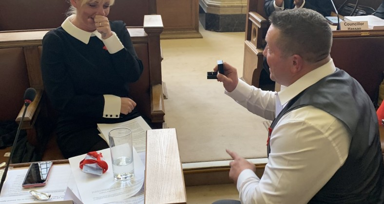Councillor Sean McHale proposes to fellow Cllr Donna Ludford at Manchester City Council Chamber, Manchester City Hall Labour
