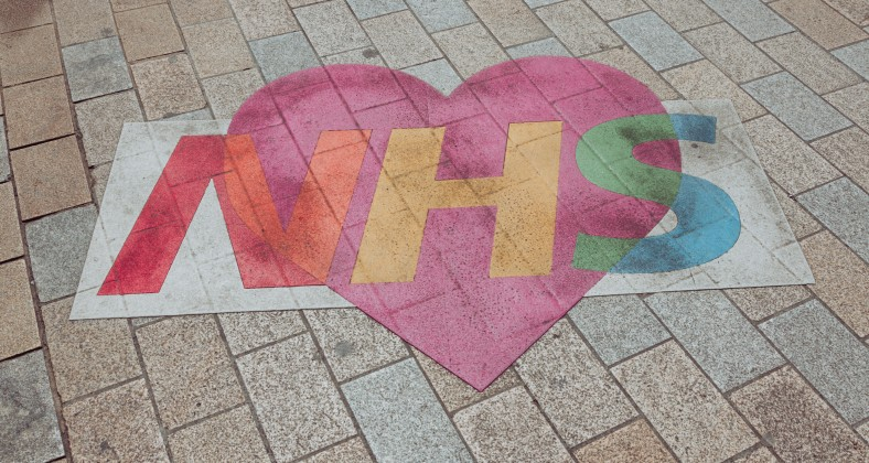NHS chalk drawing with rainbow