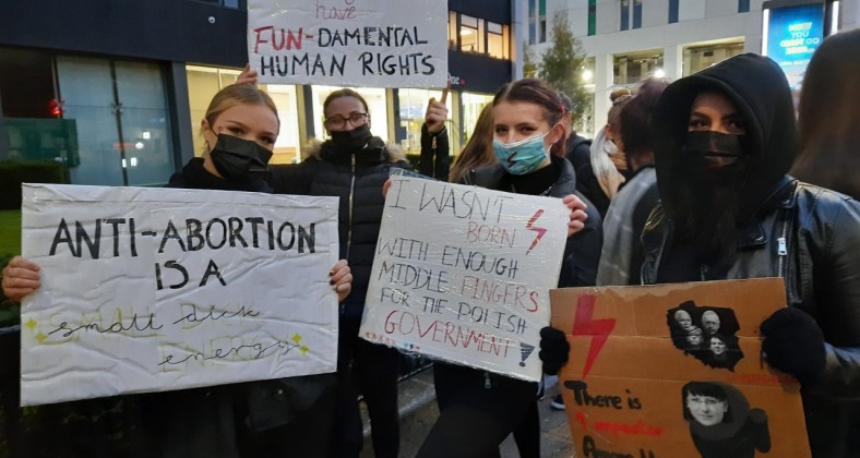 Girls protest against Polish abortion laws