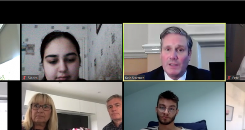 Keir Starmer, Labour Party leader, in Zoom call with Bury residents