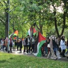 students march through Whitworth park
