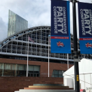 Manchester Central conference hall and conservative party signs