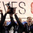 England lifting the SheBelieves Cup