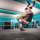 "Wrestlers ""Big Guns"" Joe and Jacob North go toe to toe at Stockport Guildhall - photo credit Tony Knox (c)"