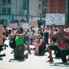 Protesters in St Peter's Square Manchester
