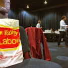 A Labour Party supporter's bag at the Manchester election count 8 June 2017