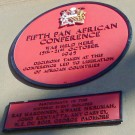 Plaque of Fifth Pan African Congress in Manchester