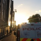Police van in the sunset