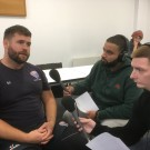 Rugby coach Rob Jones is a strong supporter of MMU Sports Journalism and actively encourages budding sports journalists to cover his teams. Here he's being interviewed by students for their assignments in previous years.
