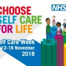 Poster for Self Care Week 2018 showing cartoon people standing alongside the slogan Choose Self-Care for Life, under the NHS logo