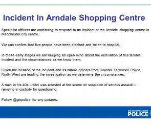 Statement by Greater Manchester Police on their investigation into the Arndale stabbings