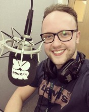 Dan Davies at the mic for Rock FM