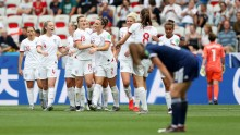 England celebrate scoring against Scotland. (C) Getty Images
