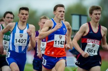 Jamie Webb (centre) winning Men's 1500m at BUCS Outdoor Athletics. Bedford, May 2016