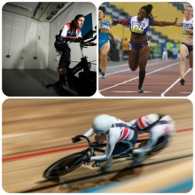 Dame Sarah Storey, Kadeena Cox and Helen Scott collage
