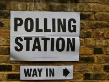 Polling Station sign on wall