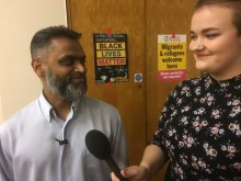 Bryony Hiscock and Moazzam Begg, at the Mechanics' Institute