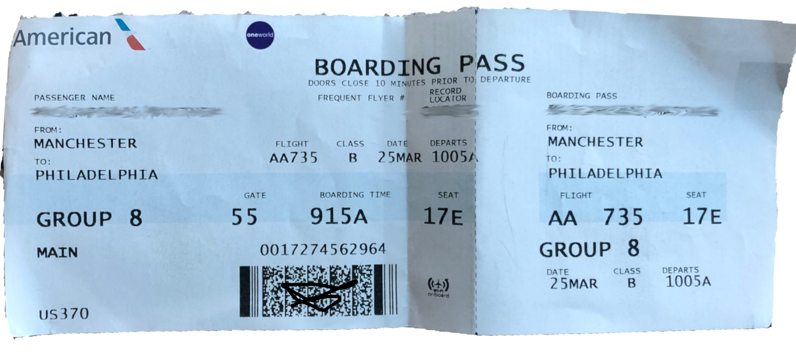 Matt's boarding pass