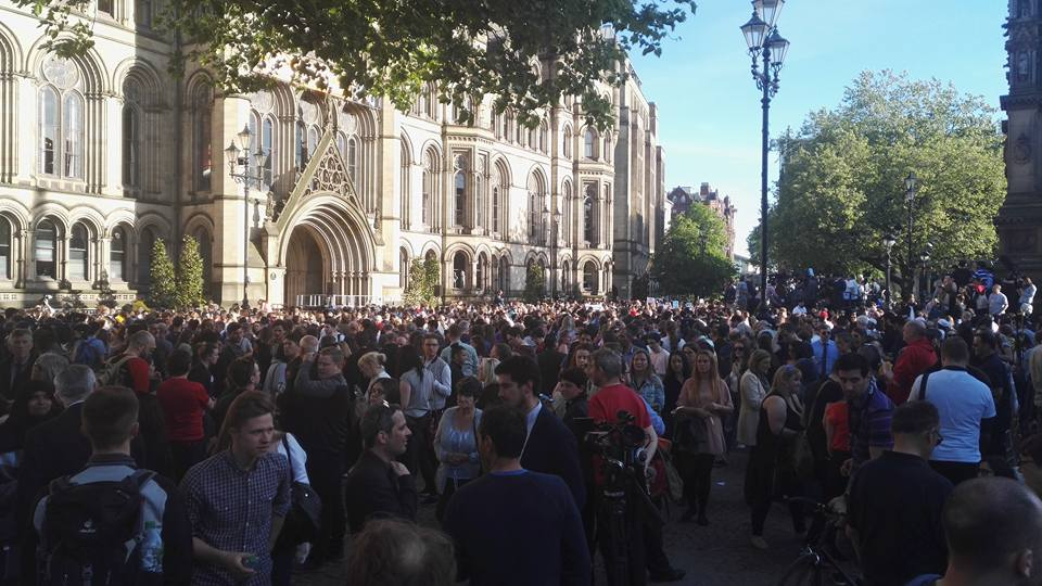 Crowds outside Town Hall