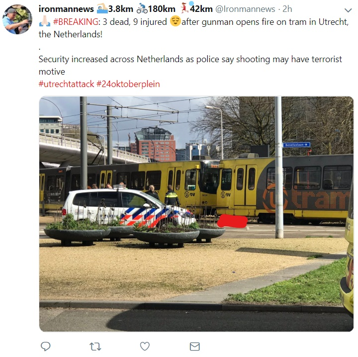 Tram where attack took place, cordoned off by authorities